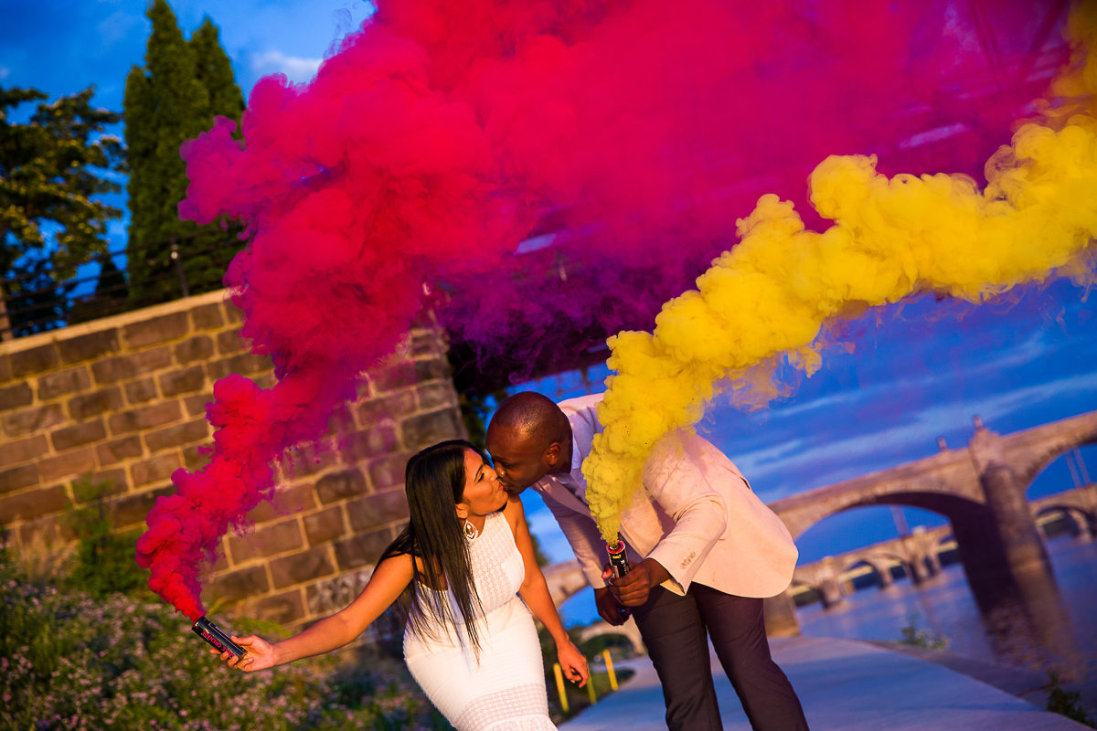 chalk bombs add an explosion of color to this Harrisburg engagement session