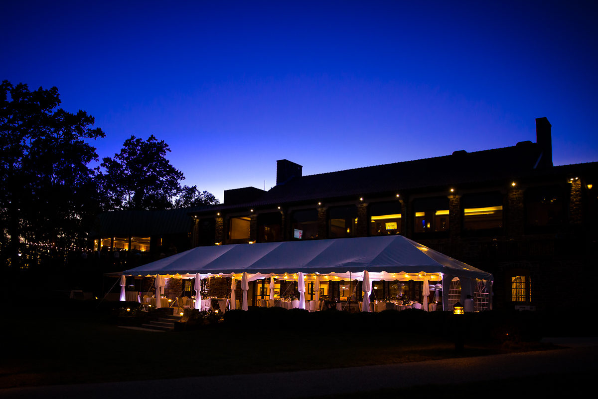 Outdoor tent wedding at the Country Club of York, in York PA at night