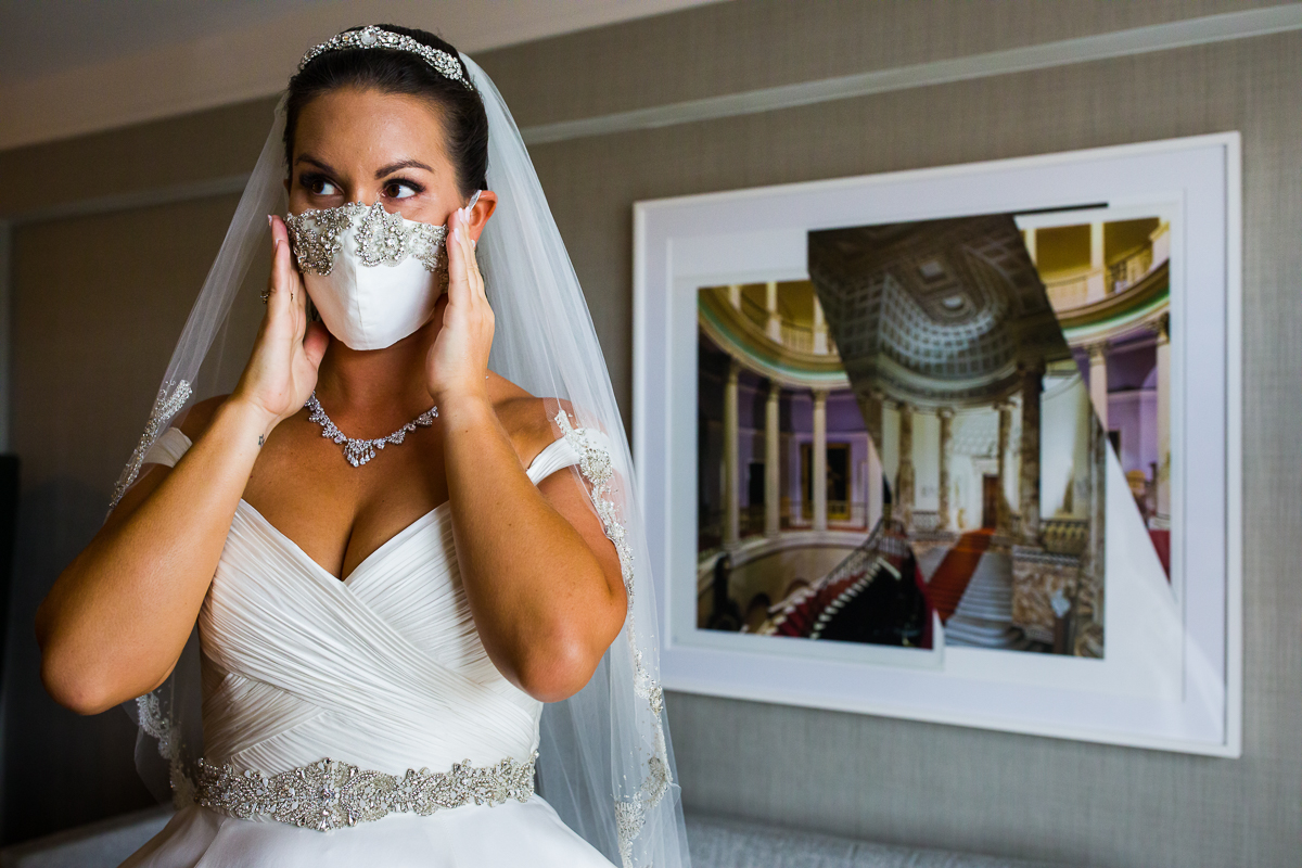covid-19 friendly wedding photographers in Washington dc bride wears mask