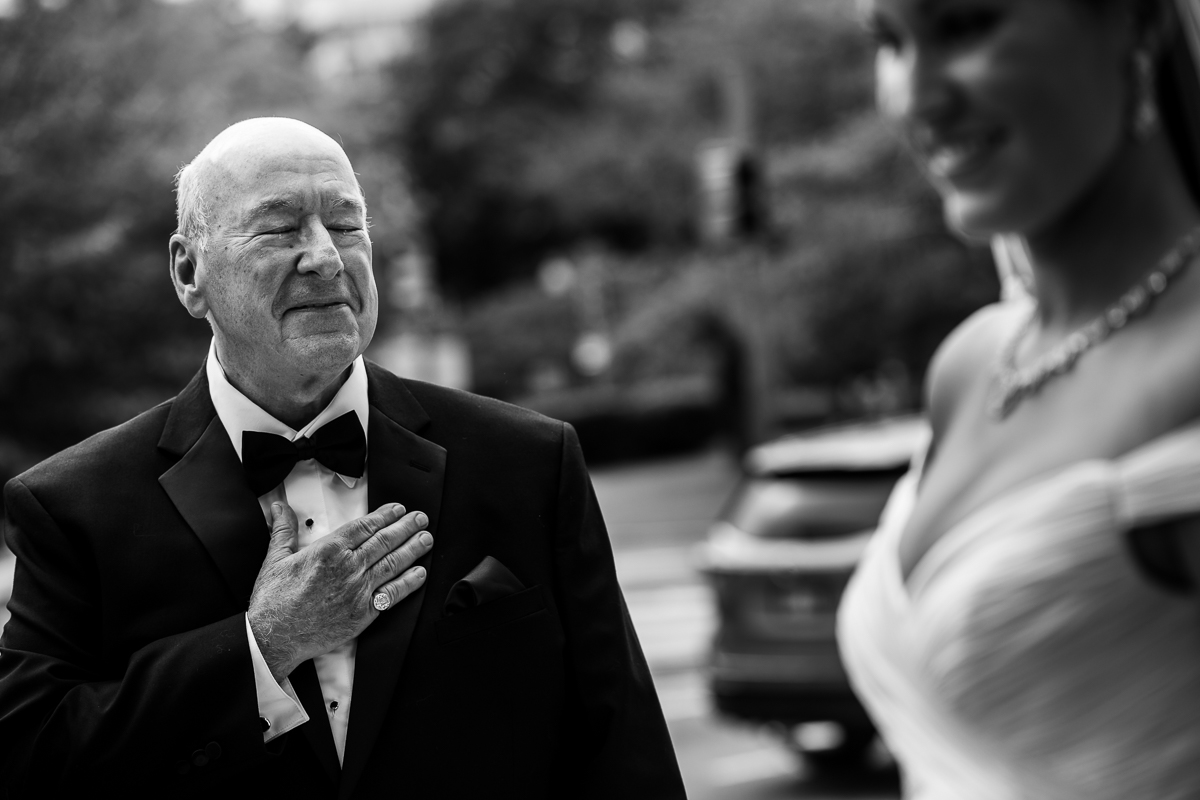 First Look with father of the bride at the darcy hotel in washington dc
