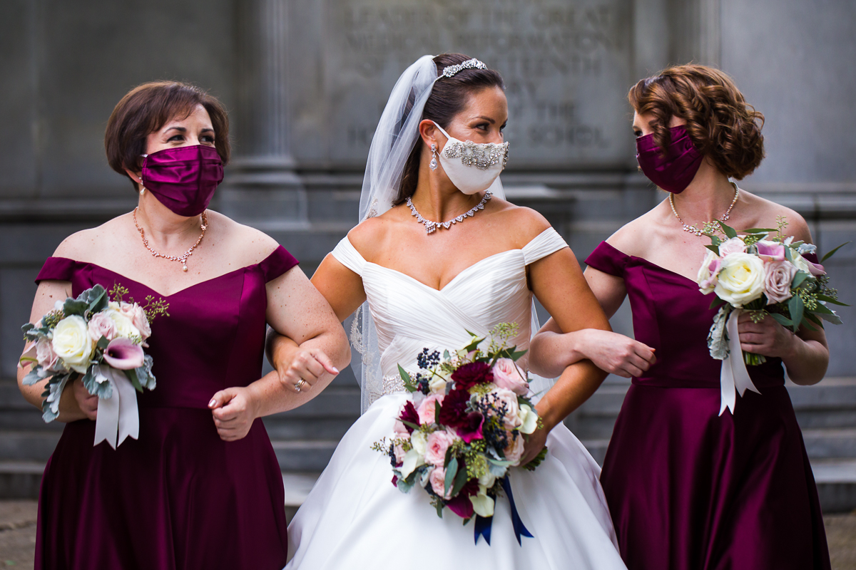 Bridal party in elegant wedding masks the best wedding photographers for covid-19 in washington dc