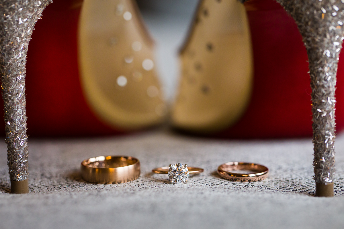 Red Bottom Shoes Luxury Darcy Hotel Wedding Rose Gold Rings