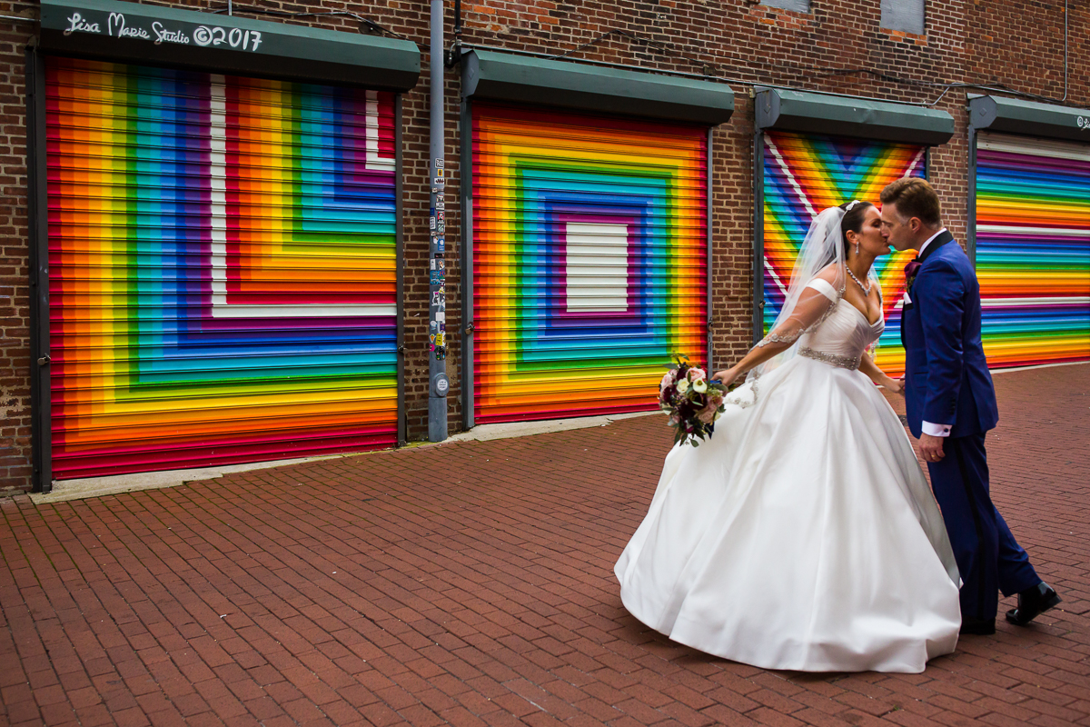 Colorful Blagden Alley Wedding Photography at the Love Mural