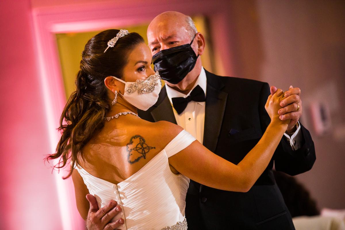 bride adorns beautiful covid-19 mask in elegant socially distant washington dc wedding