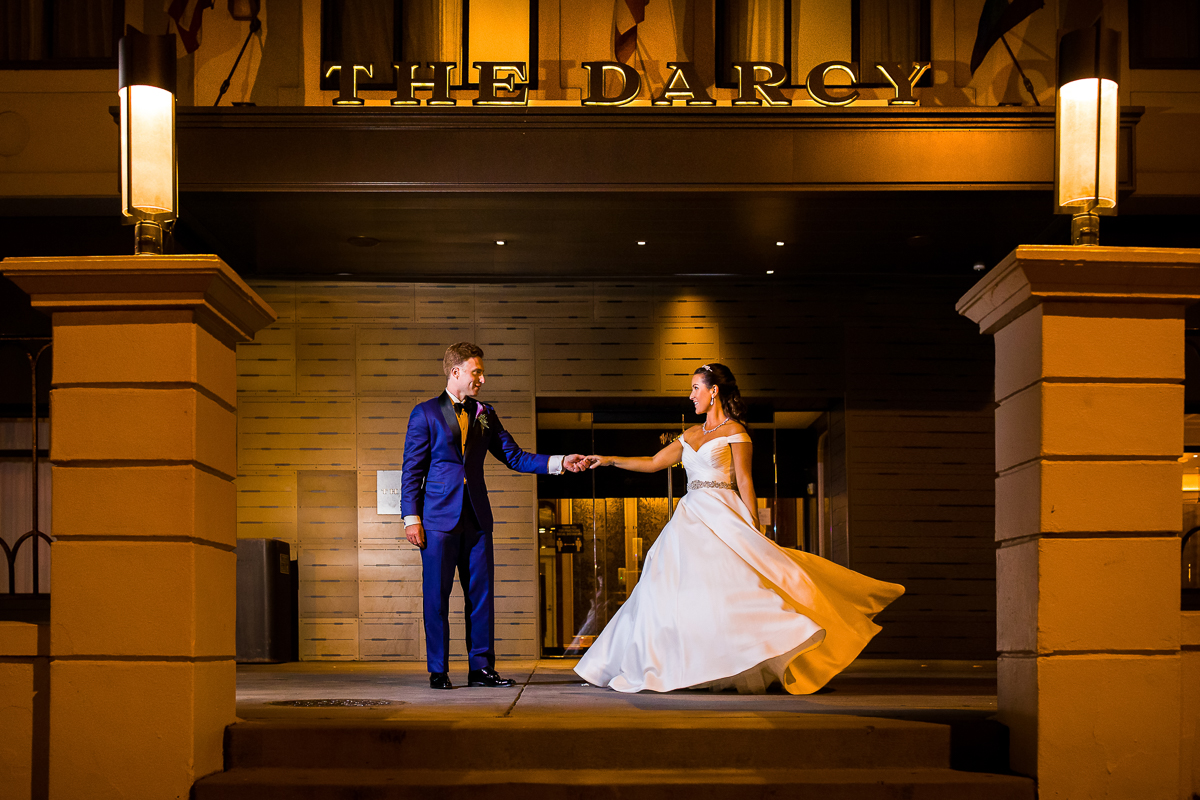 Nighttime modern elegant wedding couple at the Darcy hotel in Washington dc