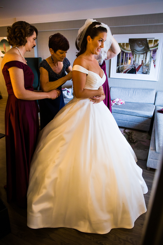Bride Dressing in the Darcy Hotel in Washington DC