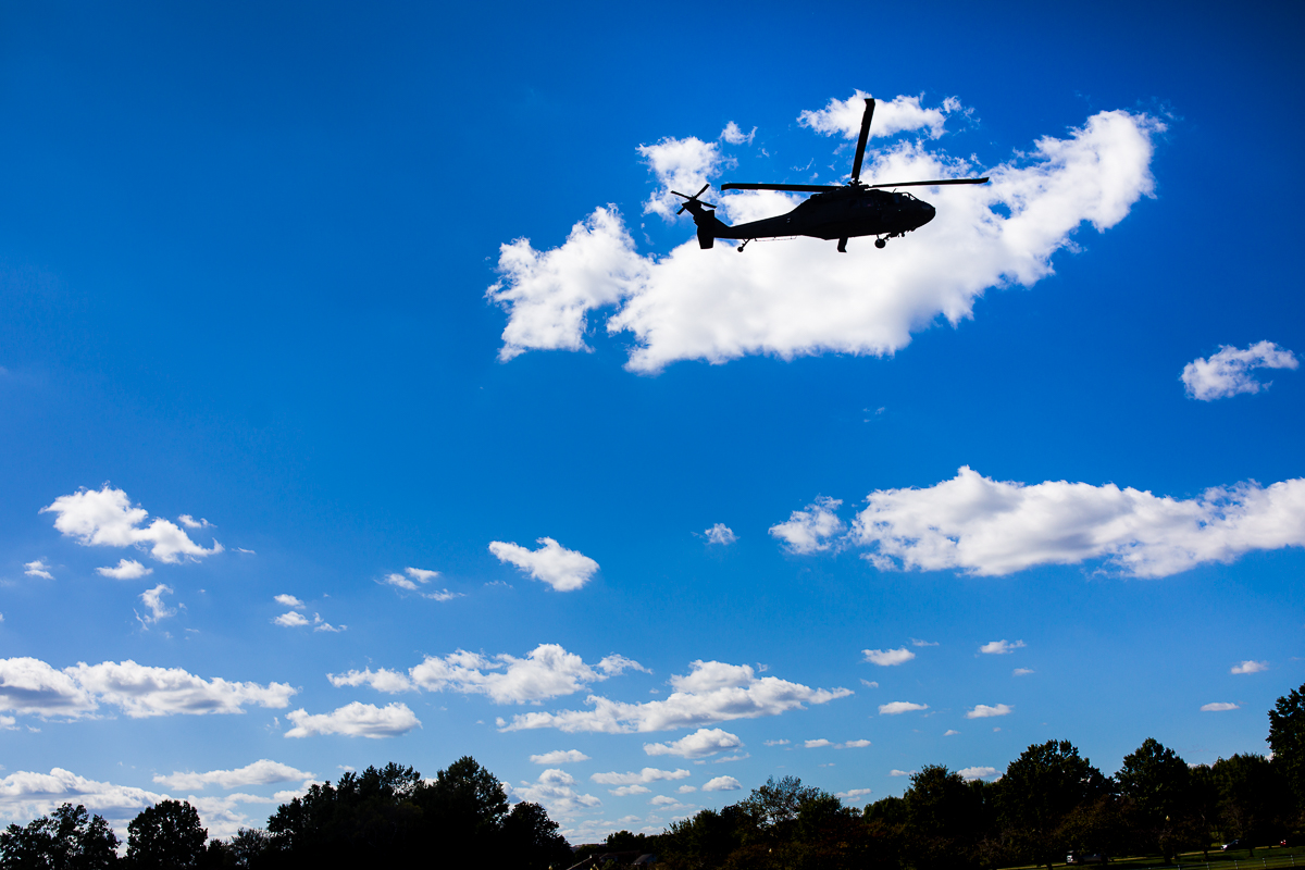 marine one and a parade of helicopters moved up the Potomac during this wharf dc first look