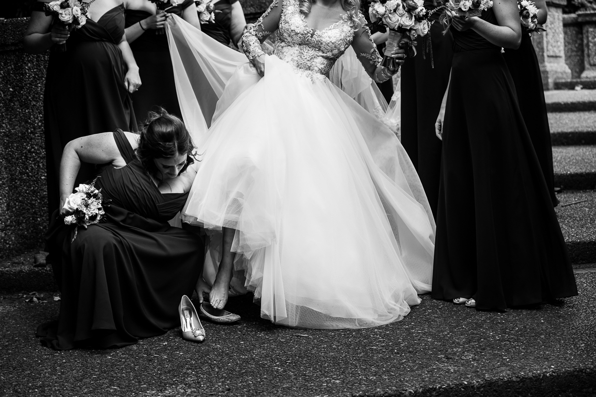 cinderella moment in washington dc's meridian hill park black and white photojournalistic wedding photography