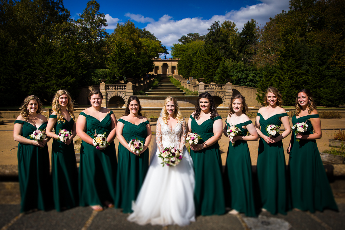 Meridian Hill Fountain Steps Wedding Photography emerald green dresses fall color palette