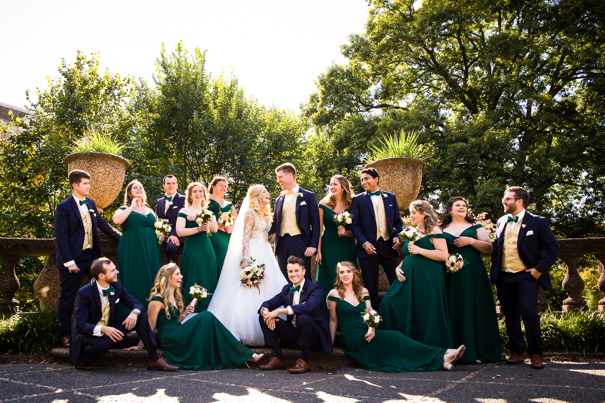 meridian hill park bridal party gathers laughing