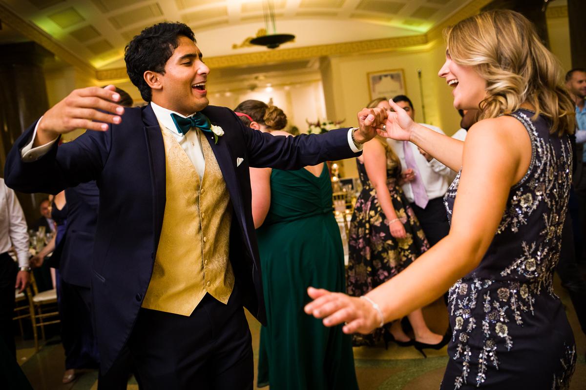 wedding guests dance in Arlington Virginia gw masonic memorial reception