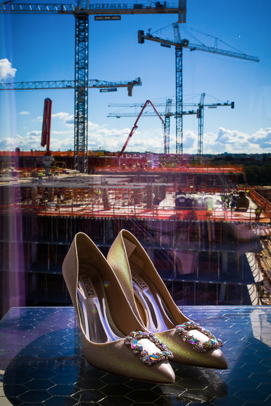 construction adjacent to hilton canopy wharf property featured in creative wedding photography