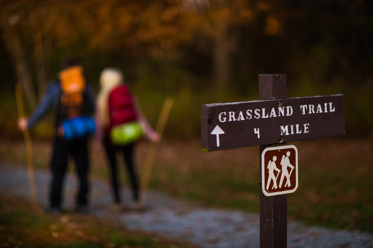 couple hiking in pennsylvania for their engagement photography session near a designated sign for hikers