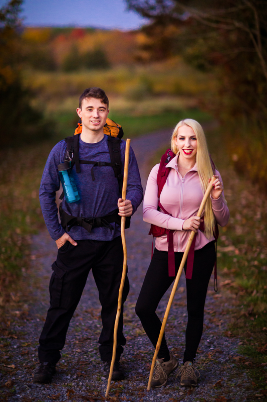 hikers backpackers in creative outdoor engagement photography