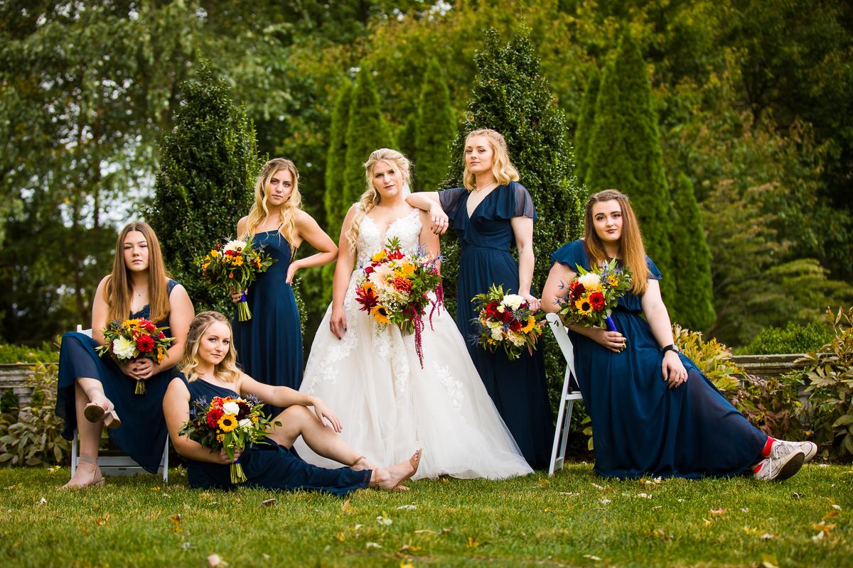 creative bridesmaids wedding photos fall farm navy autumn color palette