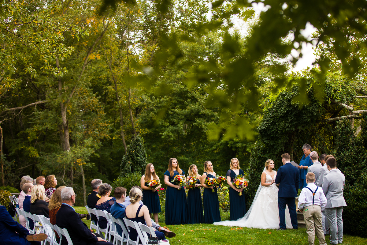 silverbrook farm wedding ceremony held on the backyard under the terrace