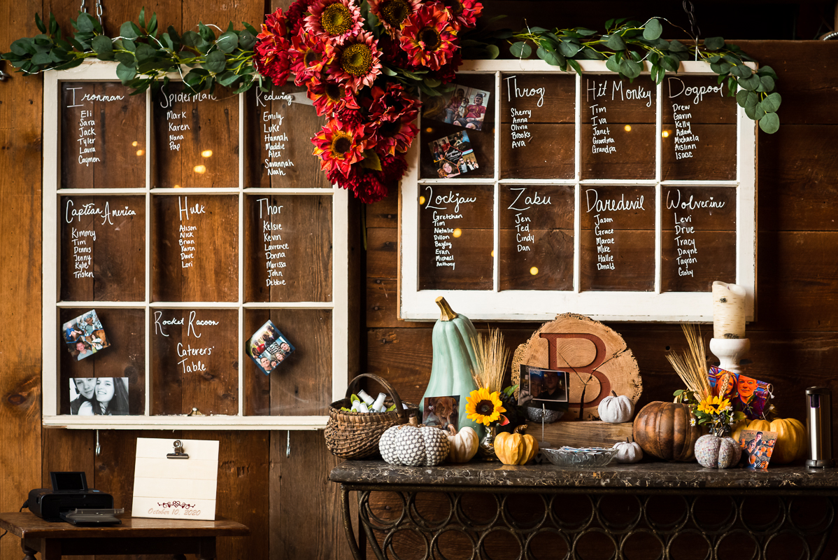 autumn barn-style seating chart with a superhero twist with red sunflowers and window panes