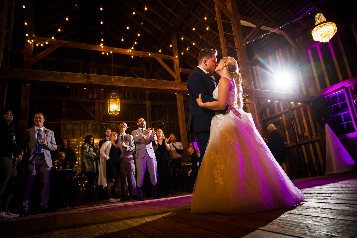 Silverbrook farm wedding reception bride and groom dancing in the barn to their first dance