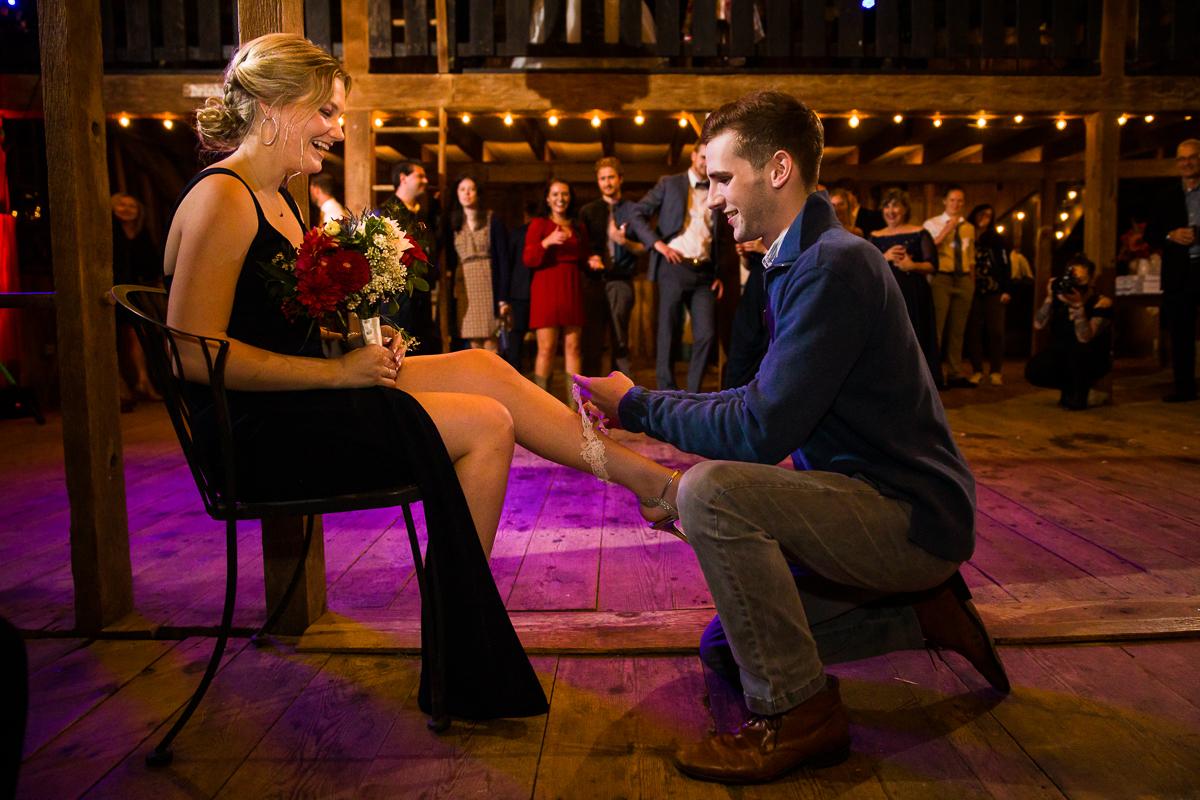 boquet and garter toss wedding tradition