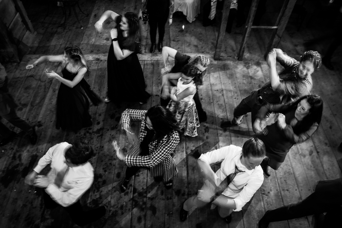 dance floor black and white photo of the wobble