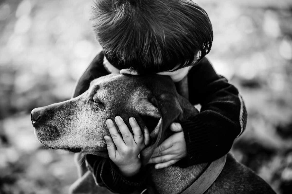 black and white photograph of a child hugging his dog during a family portrait session