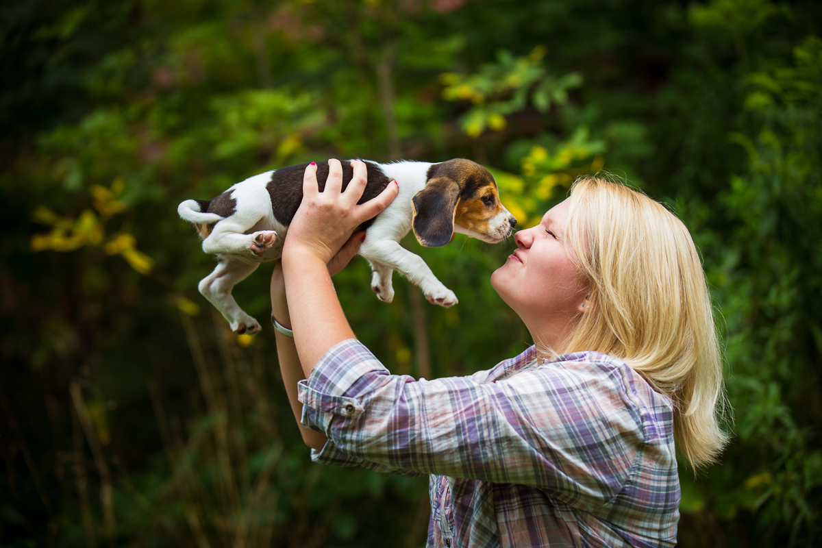 a sweet puppy giving kisses to it's owner during her Pennsylvania puppy portrait session for article on tips to include your dog in a family portrait session