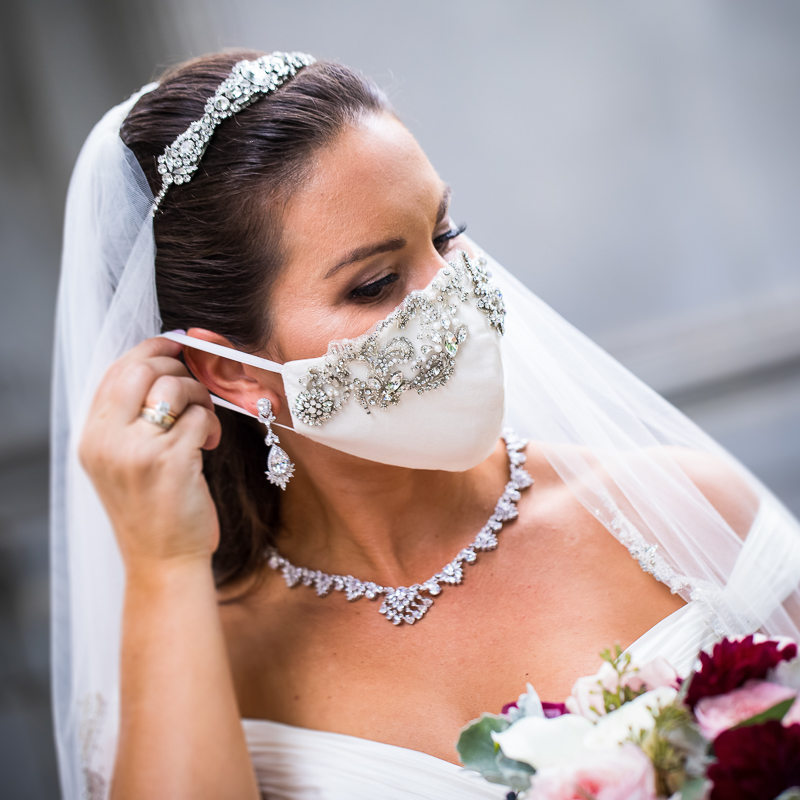 covid-19 bride wearing a beautiful mask to match her wedding gown in Washington dc