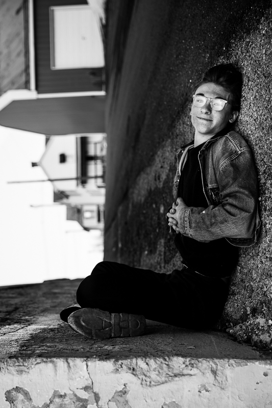 forced perspective black and white senior portrait photographer