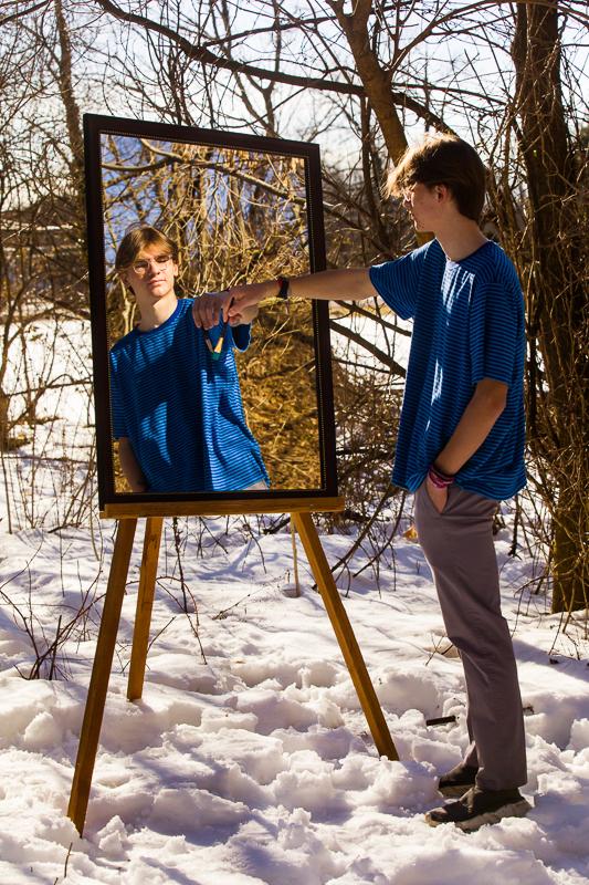 artistic pennsylvania high school senior portrait photographer unique painting on an easel