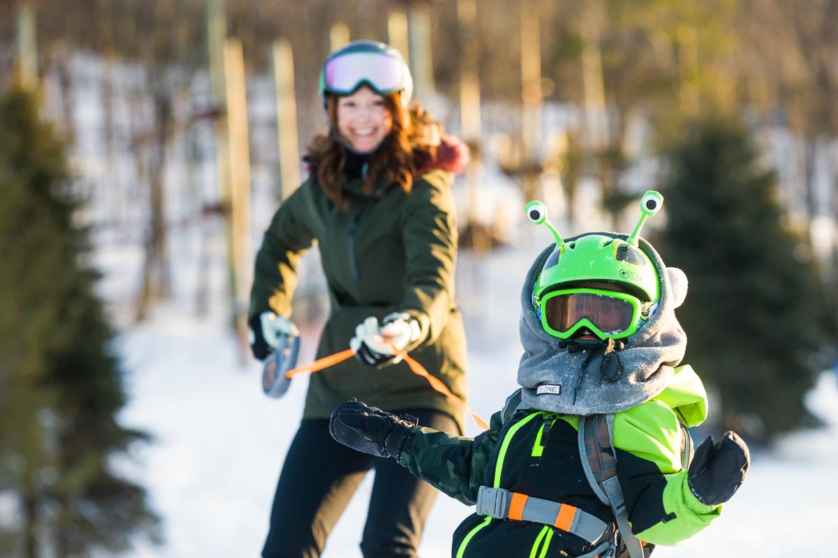 snowboarding mom child blue mountain resort
