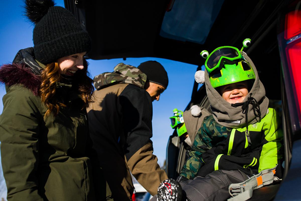 snowboarding prep alien helmet family photography