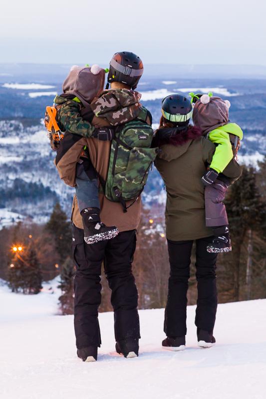 family blue mountain resort slopes view