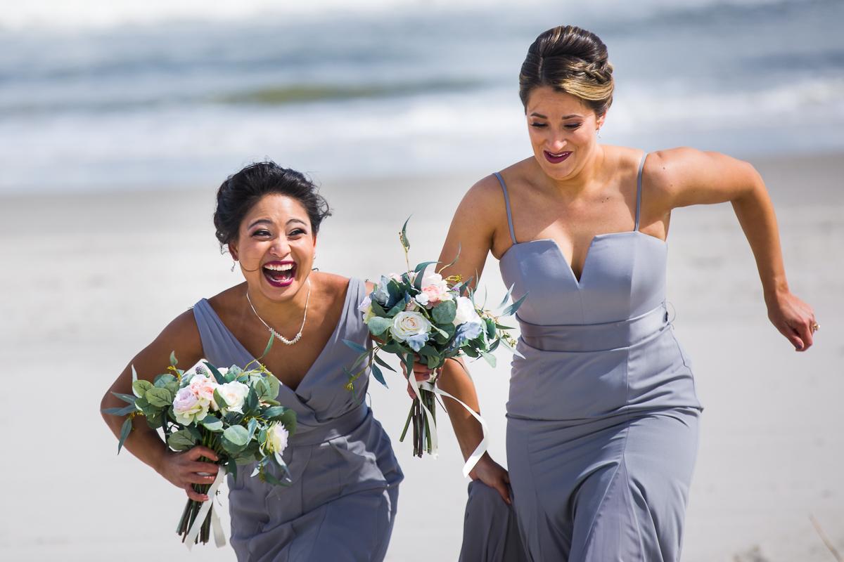 bridesmaids laughing and running