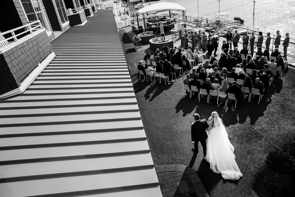 black and white aerial view of reeds stone harbor wedding ceremony