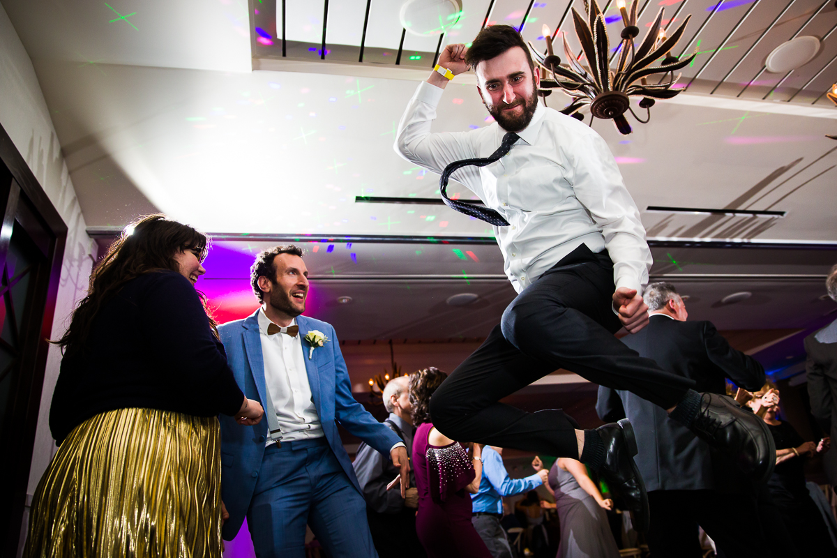 wedding dancefloor man jumps at reeds stone harbor nj