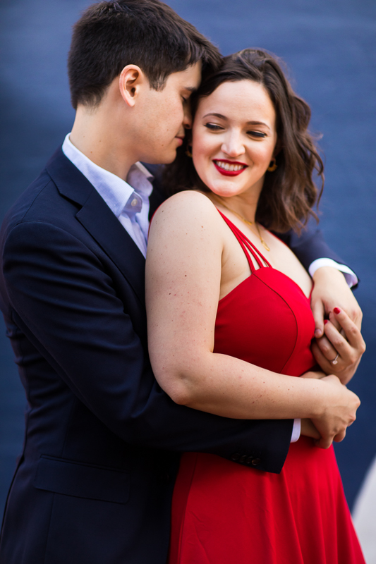 red dress engagement photo DC chic urban engagement session