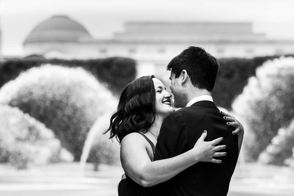 DC Blagden Alley & NGA Engagement classic black and white engagement photo couple embracing in dc scupture garden at the national gallery of art