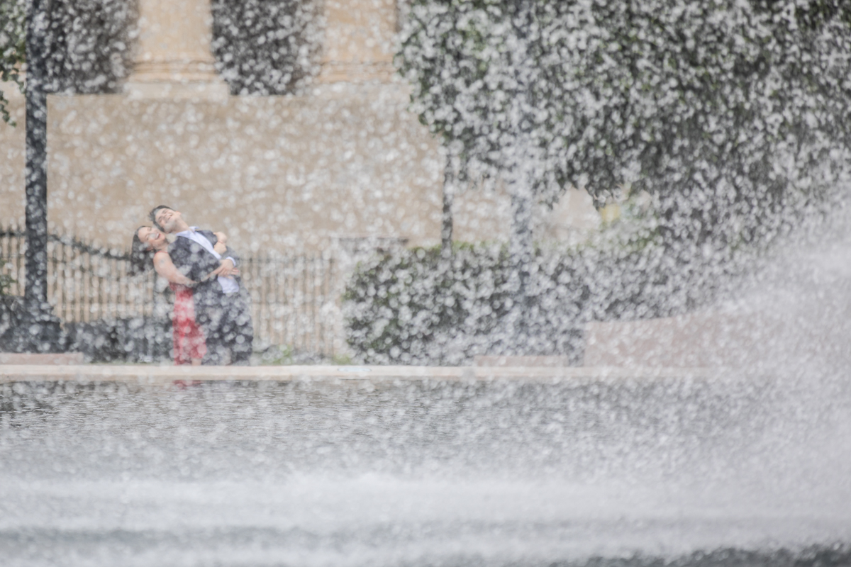 dc sculpture garden creative DC fountain photo with engaged couple DC Blagden Alley & NGA Engagement