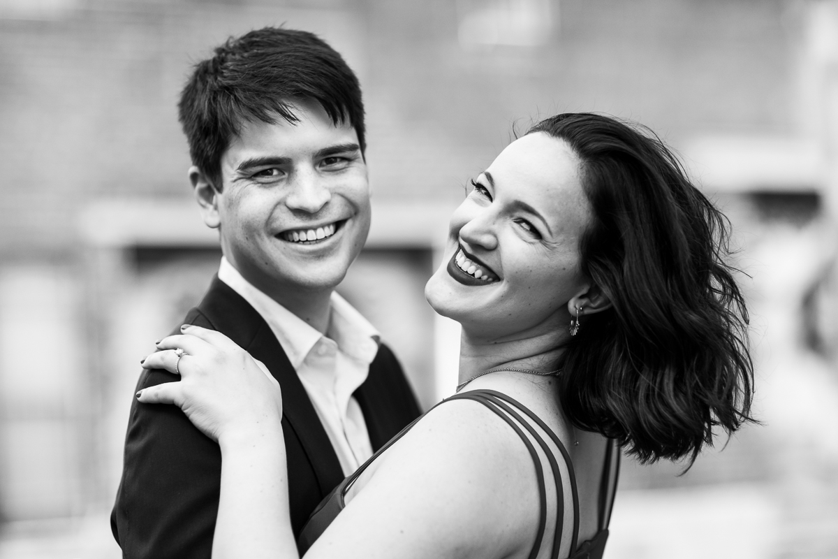 black and white engagement photo couple authentic