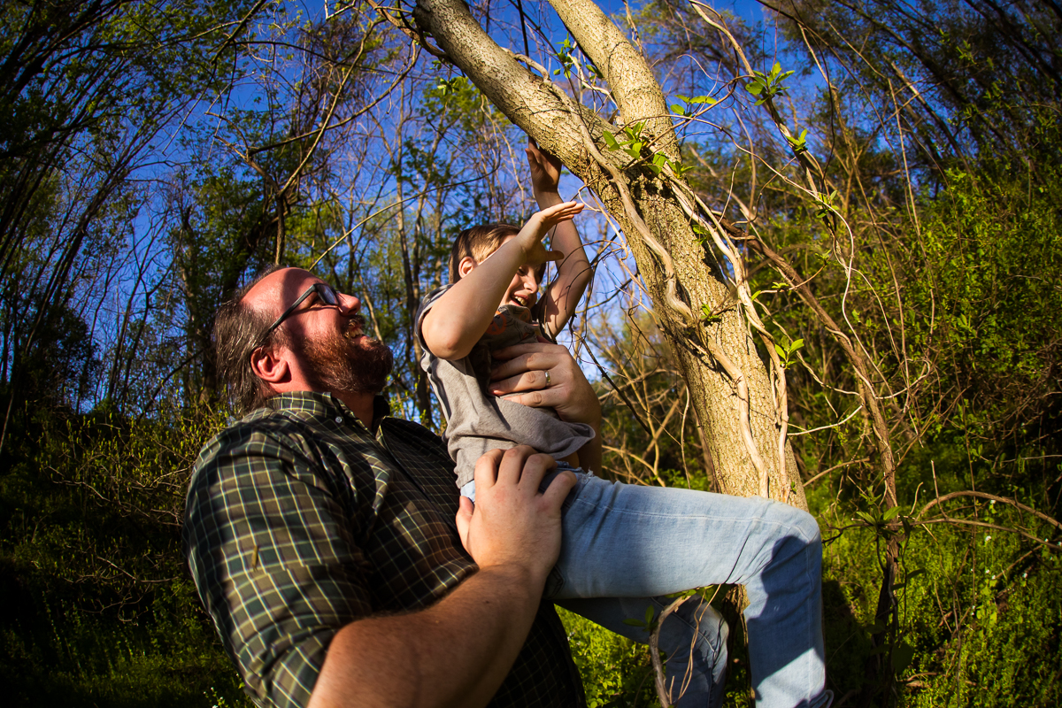 dad helping son from tree climbing laughing fun outside
