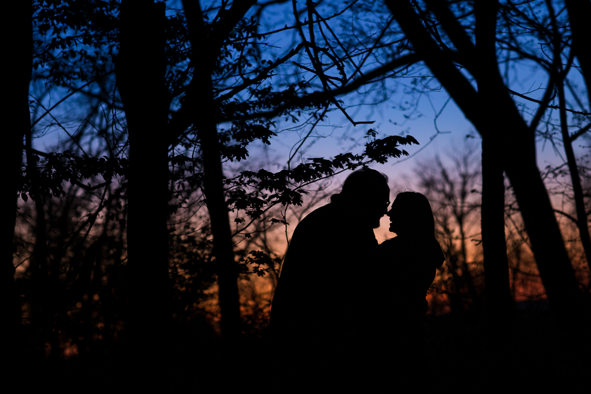 pennsylvania family photography session creative silhouette photo at sunset in the woods with couple