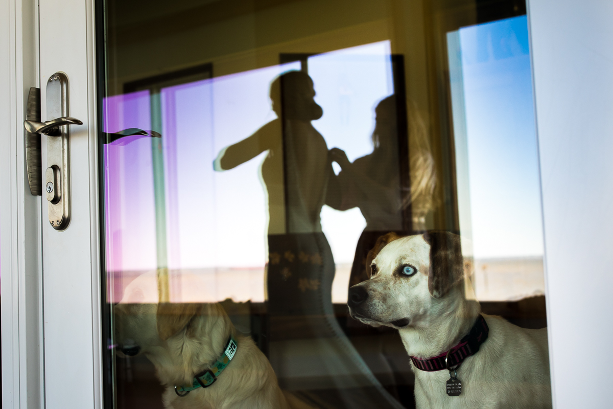 artistic photo of mom helping bride get ready with dogs reflected in door