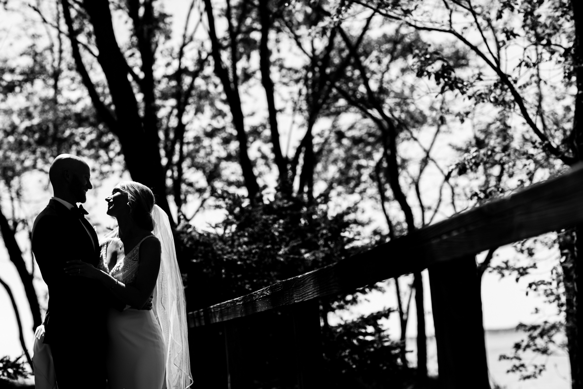 camp wright wedding stevensville Maryland first look black and white outdoor nature background