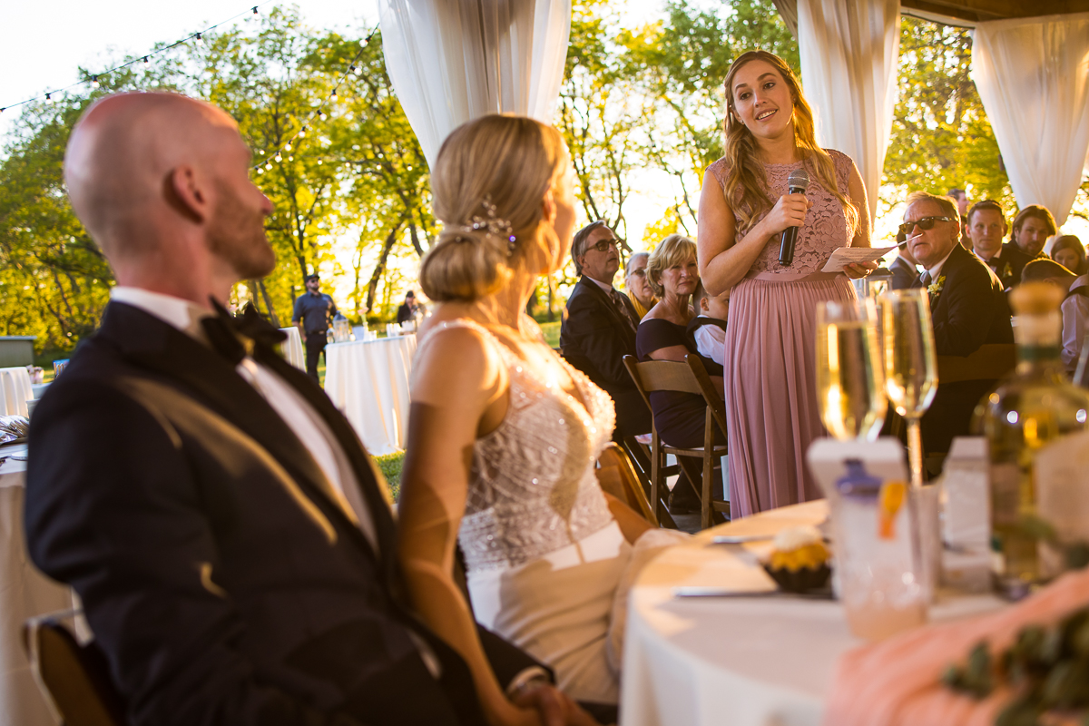 sentimental wedding toasts during tented reception from sister of bride
