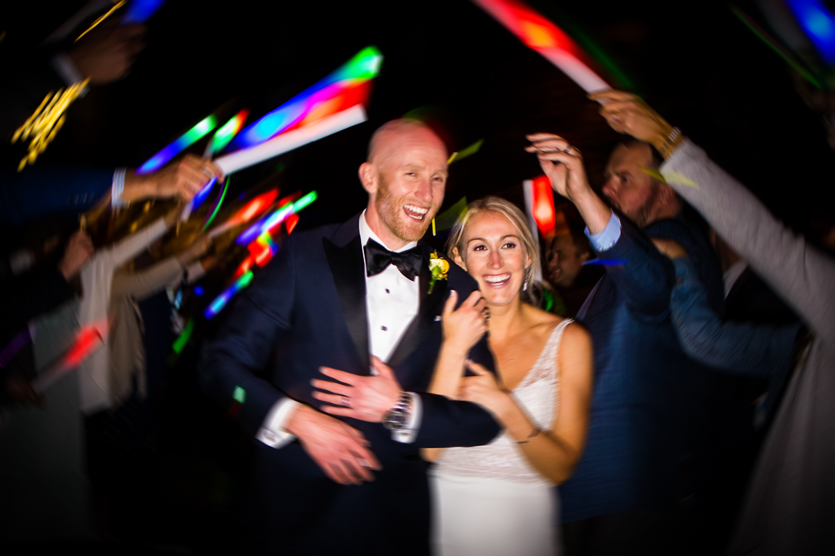 glow stick tunnel wedding exit at camp wright stevensville maryland artistic wedding photographer