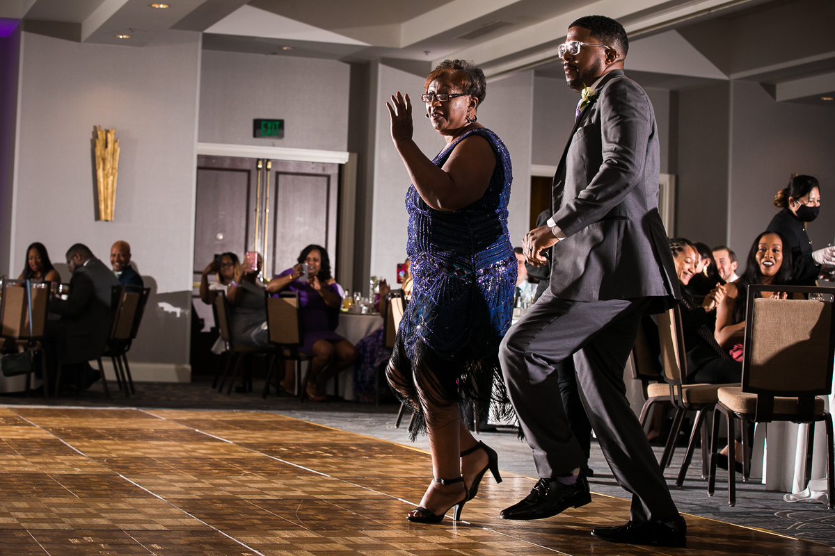 mother son dance on reception floor of Harrisburg Hilton downtown central pa wedding photographer