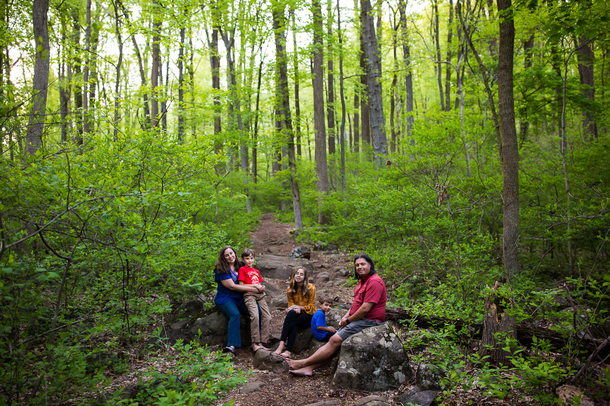 family of five sitting outside along nature path on rocks surrounded by greenery and trees best creative unique family photographer pa