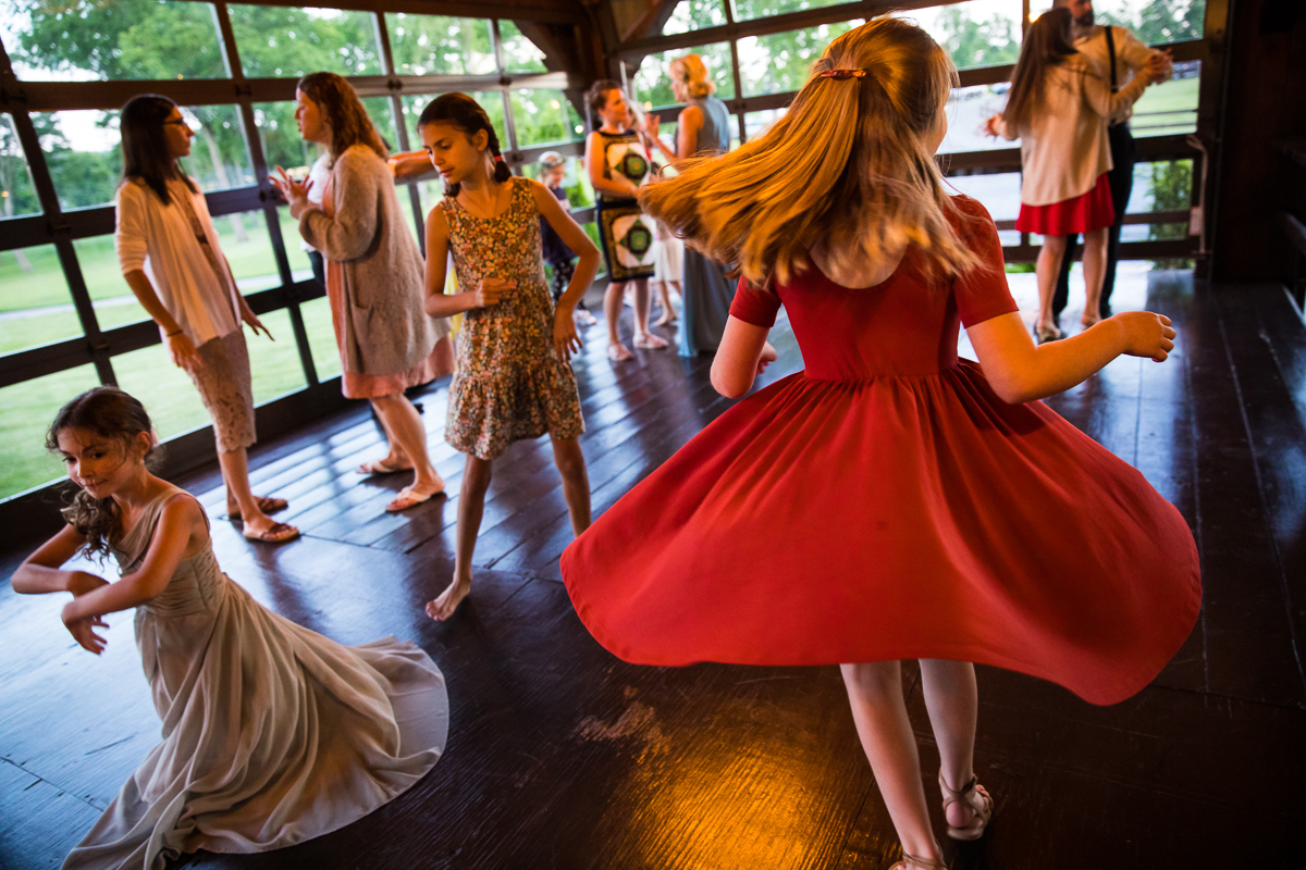 kids gathered dancing indoor on the dance floor during wedding reception bell mountain estates wedding